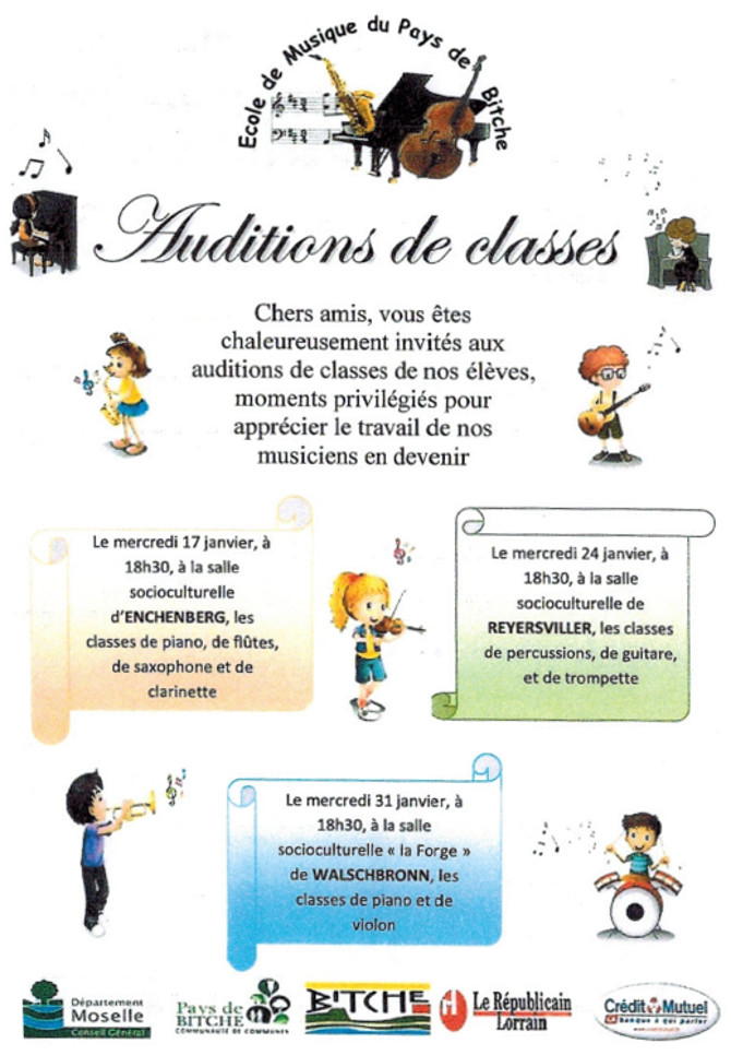 Auditions de classes de musique 2018